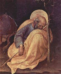Gentile da Fabriano (1370-1427) - Adorazione dei Magi (pala Strozzi), dettaglio San Giuseppe - tempera e oro su tavola - 1423 - Galleria degli Uffizi, Firenze