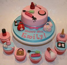 Handbag and make-up cake and matching cupcakes by The Clever Little Cupcake Company (Amanda), via Flickr