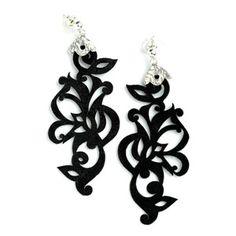 Wholesale Black Leather Sterling Silver Tattoo Earrings