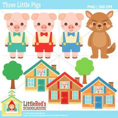 Three Little Pigs clipart, includes pigs, house of brick, house of ...