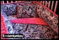 CUSTOM Punk baby crib bedding set in WILD CHILD by RockerByeBaby, $300.00