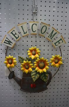 Garden themed metal welcome sign, shabby chic, with sunflower and growing form a watering can design >>> More info could be found at the image url. (This is an affiliate link) #DecorativeAccessories