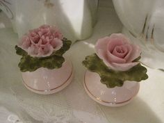 Pink carnation and rose salt and pepper  shakers