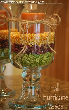 Fall Hurricane Vases filled with dried beans and corn