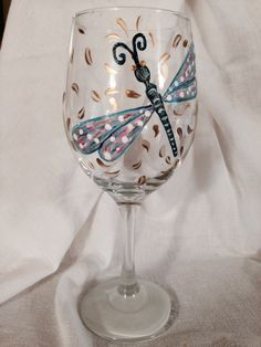 Dragon Fly wine glass, hand painted with enamel paints.