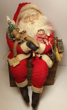 Handmade Sitting Santa Claus By Kim Sweet~Kim's Klaus~Handmade Teddy Bear~Doll~Antique Sleigh Bell~Bottle Brush Tree~Vintage Christmas~ oOaK Folk Art Doll