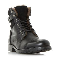 DUNE MENS CARTEL - Lace Up Shearling Lined Boot - black   Dune Shoes Online