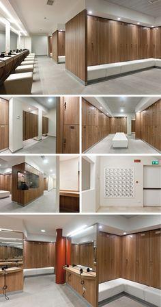 Veranda Design, Gym Lockers, Wood Lockers, Gym Interior, Hospital Design, Gym Room, Spa Design, Changing Room, Fitness Design