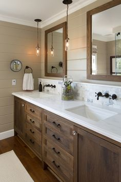 White oak double vanity and mirrors, white marble countertop with tile backsplash and painted shiplap walls | Anne Sneed