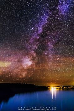 Milky Way And Star Trails at Lake Etling at Black Mesa State Park in Oklahoma.