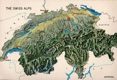 Vintage Cartographic Map of the Swiss Alps