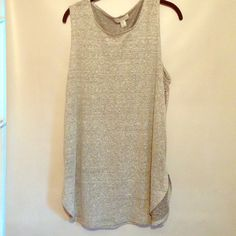 Grey Zipper-detail Tank Top NWT. Simple linen grey tank top. Loose fit with working zipper sides for edge. Size XL. Forever 21 Tops Tank Tops