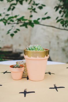 #gold wedding idea: painted terracotta pots with liquid gold paint - photo by Shannon Collins Photography http://ruffledblog.com/maas-building-philadelphia-wedding