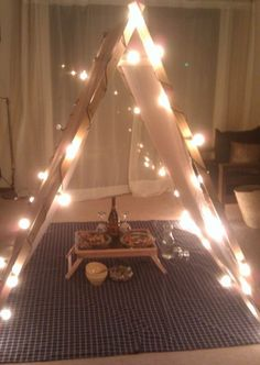 Not convinced that you can have a romantic Valentine's Day from the comfort of your own home? We love this DIY tent that creates a cozy space to dine in! It would have to be a pretty tall tent for my hubby but the idea is awesome! Romantic Dates, Romantic Dinners, Romantic Ideas, Romantic Things, Diy Tent, Diy Teepee, Love Is In The Air, Date Dinner, Partys