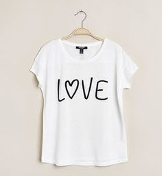 Tee-shirt écru imprimé love
