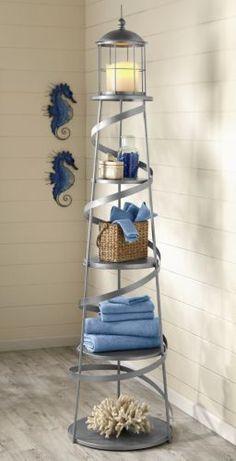 Would love this for my lighthouse bathroom! Alexandria lighthouse shelf - but high! Beach Cottage Style, Coastal Cottage, Beach House Decor, Coastal Style, Coastal Decor, Coastal Living, Coastal Entryway, Coastal Bedrooms, Seaside Decor