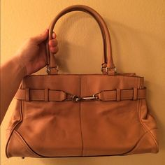 """Camel Coach Leather Handbag Camel color Coach leather handbag. Used but in good condition. 15"""" W 9"""" H Bottom sits flat at 3.5"""" Handles are 7.5"""" tall Coach Bags Shoulder Bags"""