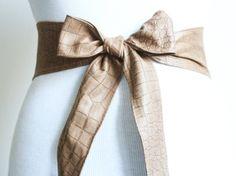 Light Brown Croc effect Leather Thin Obi Belt  by LoveYaaYaa