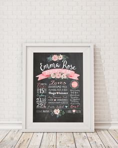 First Birthday Chalkboard Poster - Milestone Board Poster, Baby Girls First…