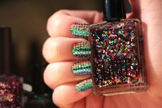 Polish All the Nails: Rainbow Hand-placed Glitter with American Apparel Galaxy