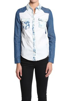 TheMogan Two-Tone Colorblock Bleached Wash Denim Shirts