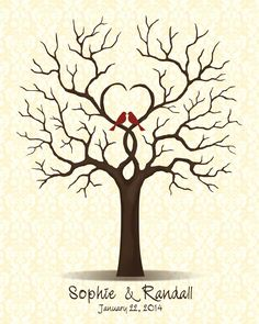 Wedding+Tree+Guest+Book+with+Love+Birds+by+CustombyBernolli,+$18.00