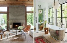 Designer Jenni Kayne's Los Angeles home is proof that, sometimes, less is more. Reclaimed wood and natural stone elements give the modern architecture warmth and character. I'm mildly obsessed with the black walled room, steel coated bathtub, the adorable kids' room, and of course, the ever-so-serene outdoor living room!