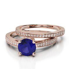 Gold / platinum round cut tanzanite and diamond bridal set ring Gold Platinum, Bridal Sets, Diamond Jewelry, Emerald, Sapphire, Wedding Rings, Rose Gold, Engagement Rings, Beauty