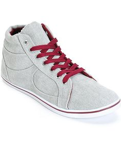 A solid grey canvas upper is accented with contrast burgundy detailing and laces for a two-tone look, while the high top design and lightweight construction offer all-day comfort.