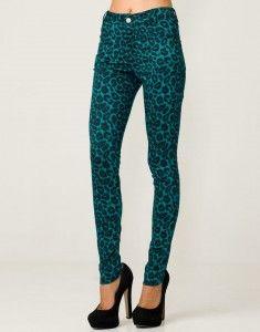Emerald Green Leopard Print Jeans