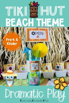 Are your young learners ready for some beach themed pretend play? The beach dramatic play Tiki Hut is open for creating and serving tasty drinks. This summer theme dramatic play set will have your little learners counting, sorting, ordering and mixing up some fun play time with their friends in the dramatic play center. Preschool, pre-k, and kindergarten children will love using their imaginations to visit the Tiki Hut. This a perfect addition to a beach theme, ocean theme or summer theme. Beach Theme Preschool, Preschool Centers, Preschool Themes, Ocean Themes, Beach Themes, Dramatic Play Centers, Inspired Learning, Tiki Hut, Play Centre