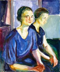 Edvard Munch - Two Women, Seated, 1924-26. Oil on canvas, 80 x 72 cm. Munch-Museet, Oslo, Norway