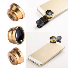 New Gold Camera Lens Wide Angle + Fish Eye + Macro Clip Fr iPhone 5S 6S Samsung