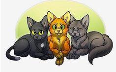 Ravenpaw, Firepaw, and Graypaw.