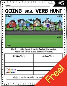 LEARN ABOUT VERBS - kindergarten - first grade - second grade - grammar - ela - literacy worksheets - morning work - lesson plans - how to teach grammar - small groups - whole groups - word work rotations - homework - learn from home - FREEBIES - cut and paste - fine motor - writing adjectives - verbs - nouns #kindergartengrammar #firstgrade How To Teach Grammar, Teaching Grammar, First Grade, Second Grade, Linking Verbs, Literacy Worksheets, Action Verbs, Kindergarten Centers, Morning Work