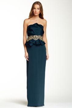 Marchesa Notte Strapless Peplum Silk Gown by Marchesa on @nordstrom_rack