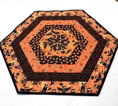 Hexagon Halloween Table Runner Quilt Candle Mat, Owls, Bats, Pumpkins, Spider Webs, Candy Corn in Orange and Black