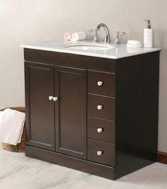 Virtu USA 36 Modena   Espresso   White Marble Single Sink Bathroom Vanity  Bathroom Vanities And