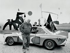 """thepacegallery:    Reblog of the day! We would love to take a ride in a Calder car…  definemotorsports:    Staying in the """"Art Car"""" mood.  Here's Alexander Calder and the1975BMW E93.0CSL Art Car."""