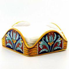 EXCELSIOR: Square Napkins Holder from Umbria....Artistica - Italian Ceramics, Deruta and Vietri Dinnerware.