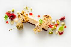 Daniel Humm - Rabbit Rillette with Cherries, Pistachios, and Violet Mustard Plating Ideas, Food Plating, Eleven Madison, Dessert Presentation, Garnishing, Good Food, Yummy Food, Best Chef, Japanese Sweets