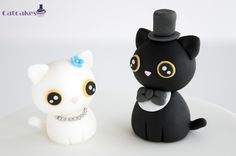 For the cat lovers out there - cute wedding cake toppers. // Catcakes