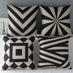 Monkeysell Couch Pillows Set of 4 Black and Beige Stripe Vintage Style Cotton Linen Sofa Home Decor Design Throw Pillow Case Cushion Covers Square 18 x 18 Pillow Covers Decorative Diy Pillows, Linen Pillows, Linen Sofa, Cushions Navy, Patio Cushions, Silver Bedding, Geometric Pillow, Geometric Patterns, Quilted Pillow