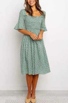 Apr 2020 - Midi length - Short sleeves with ruffle cuff - Straight ruffle neckline Sexy Lace Dress, Floral Maxi Dress, The Dress, Ruffle Dress, Modest Dresses, Pretty Dresses, Beautiful Dresses, Maxi Dresses, Casual Dresses With Sleeves