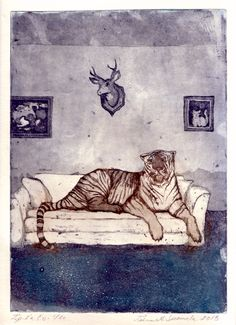 Couch takeover / Etching, aquatint / Tiina M. Suomela