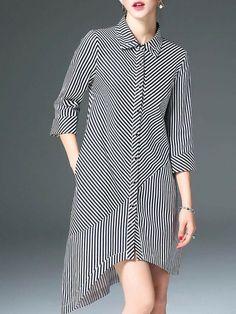 Midi Dresses - Shop Affordable Designer Midi Dresses for Women online Black Midi Dress, Striped Dress, Casual Dresses, Casual Outfits, Midi Dresses, Hijab Fashion, Fashion Outfits, Hijab Stile, Cotton Shirt Dress