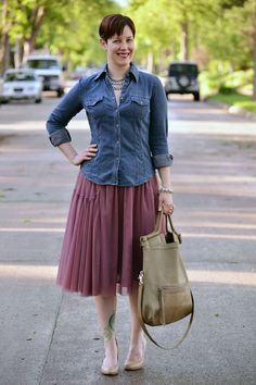 Already Pretty outfit featuring denim shirt, pink tulle skirt, rhinestone pave bracelet, Foley + Corinna Mid-City Tote, CC Corso Como Del, nude pumps
