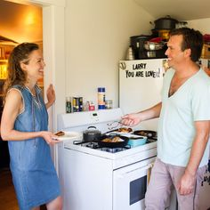 cooking together - Patrick and Courtney's Tiny, Sunny Kitchen