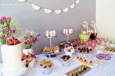 The food table for this hippie chic themed baby shower