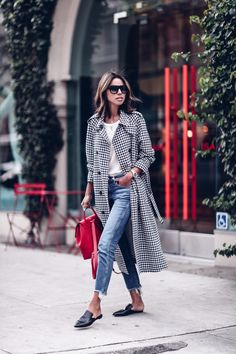gingham trench, red backpack